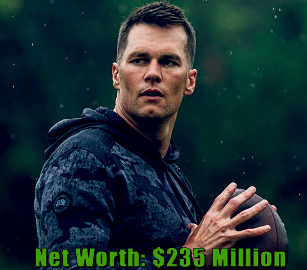 Image of American football quarterback, Tom Brady net worth is $235 million